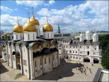 Moscou - Place rouge, Kremlin, cathédrale de la Dormition depuis la tour d'Yvan le Grand